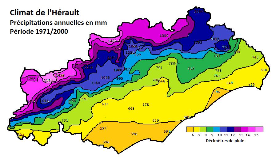 Pluviométrie annuelle hérault carte.png