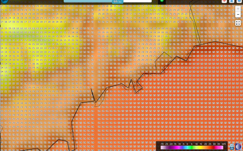 Carte Températures prévues T2m Arôme 04HTU 10082018 Littoral 06 (02).png
